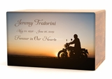 Motorcycle at Sunset Eternal Reflections II Wood Cremation Urn - 5 Urn Choices