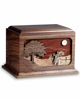 Motorcycle Ride Home Dimensional Wood Cremation Urn - Engravable