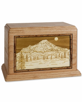 Mount Rainier with 3D Inlay Oak Wood Hampton Cremation Urn