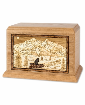 Mountain Dogsled Team with 3D Inlay Oak Wood Cremation Urn
