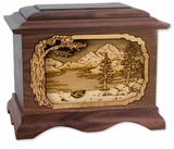 Mountain Lake with 3D Inlay Walnut Wood Cremation Urn
