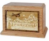 Mountain Plane with 3D Inlay Oak Wood Hampton Cremation Urn