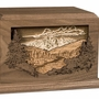 Mountain Scene Dimensional Heirloom Walnut Wood Cremation Urn