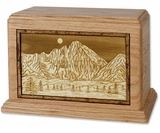 Mountain Scene with 3D Inlay Oak Wood Hampton Cremation Urn