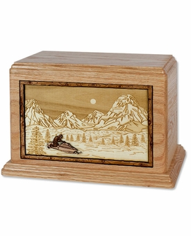 Mountain Ski Mobile with 3D Inlay Oak Wood Hampton Cremation Urn