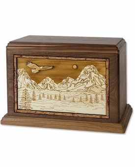 Mountain Splendor with 3D Inlay Walnut Wood Cremation Urn