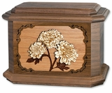Mums with 3D Inlay Walnut Wood Octagon Cremation Urn
