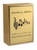 Music Sheet Bronze Inset Snap-Top Niche Cremation Urn with Engraved Plate
