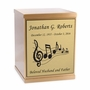 Music Sheet Bronze Overlap Top Cremation Urn with Engraved Plate