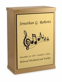 Music Sheet Bronze Overlap Top Niche Cremation Urn with Engraved Plate