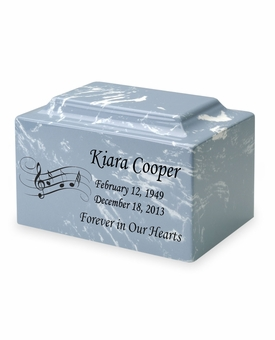 Music Staff Classic Cultured Marble Cremation Urn Vault - Engravable - 34 Color Choices