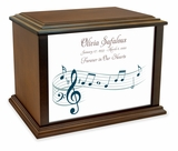 Music Staff Eternal Reflections Wood Cremation Urn - 4 Sizes