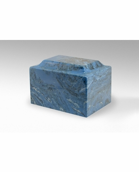 Mystic Blue Classic Cultured Marble Cremation Urn Vault - Engravable
