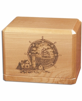 Nautical Scene Classic Maple Wood Cremation Urn