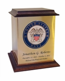 Navy Color Emblem Sheet Bronze With Walnut Trim Snap-Top Cremation Urn