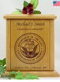 Navy Engraved Wood Cremation Urn