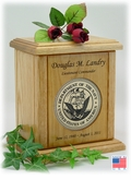 Recessed Military Wood Medallion Engraved Wood Cremation Urn