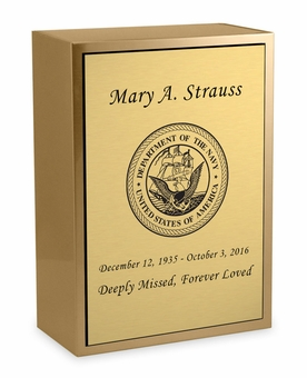 Navy Sheet Bronze Inset Snap-Top Niche Cremation Urn with Engraved Plate