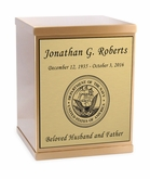 Navy Sheet Bronze Overlap Top Cremation Urn with Engraved Plate