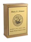 Navy Sheet Bronze Overlap Top Niche Cremation Urn with Engraved Plate