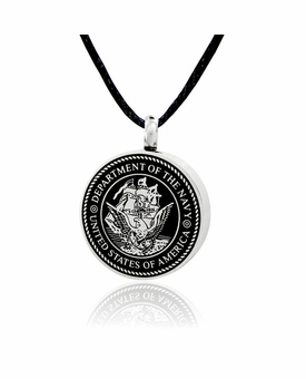 Navy Stainless Steel Cremation Jewelry Pendant Necklace