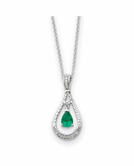 Never Forget Tear May CZ Birthstone Sterling Silver Memorial Jewelry Pendant