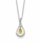 Never Forget Tear November CZ Birthstone Sterling Silver Memorial Jewelry Pendant