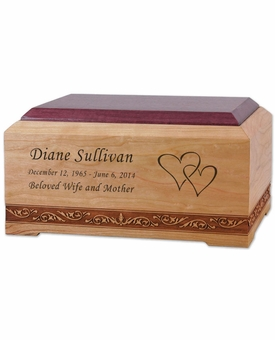 New Orleans Cherry and Purple Heart Wood Cremation Urn