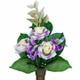 Niche Cream and Purple Rose with Poppy Silk Flowers for Cemeteries