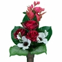 Niche Red Rose and White Poppy Silk Flowers for Cemeteries