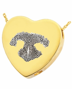 Noseprint and Name Heart Slider Solid 14k Gold Pet Cremation