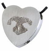 Noseprint and Name Heart Slider Stainless Steel Memorial Pet Cremation Jewelry Pendant Necklace