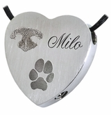 Noseprint Pawprint and Name Heart Slider Stainless Steel Memorial Pet Cremation Jewelry Pendant Necklace