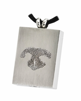 Noseprint Rectangle Stainless Steel Memorial Pet Cremation Jewelry Pendant Necklace