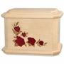 Octagon Inlayed Roses Maple Wood Cremation Urn