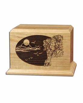 Old Man of the Mountain Cherry Wood Cremation Urn