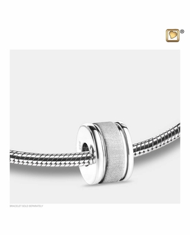 Omega Rhodium Plated Sterling Silver Cremation Jewelry Bead