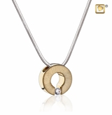 Omega with Crystal Two Tone Gold Vermeil Cremation Jewelry Pendant Necklace