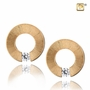 Omega with Crystal Two Tone Gold Vermeil Memorial Jewelry Stud Earrings