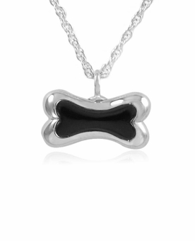 Onyx Bone Sterling Silver Pet Cremation Jewelry Pendant Necklace