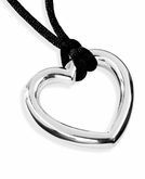 Open Heart Polished Sterling Silver Cremation Necklace Pendant