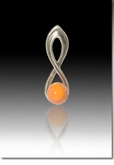 Orange Harmony Cremains Encased in Glass Sterling Silver Cremation Jewelry Pendant