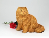 Orange Longhair Cat Hollow Figurine Pet Cremation Urn - 2706