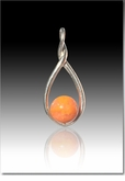 Orange Melody Twist Cremains Encased in Glass Sterling Silver Cremation Jewelry Pendant