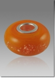 Orange Perfect Memory Bead Cremains Encased in Glass Cremation Jewelry