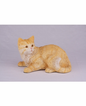 Orange Striped Orange Tabby Shorthair Cat Hollow Figurine Pet Cremation Urn - 2701