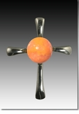 Orange Symphony Cross Cremains Encased in Glass Sterling Silver Cremation Jewelry Pendant