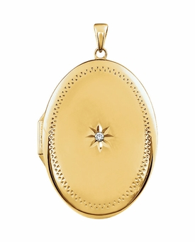 Oval Diamond Gold Vermeil Memorial Locket Jewelry Necklace