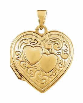 Oval Double Heart Gold Vermeil Memorial Locket Jewelry Necklace