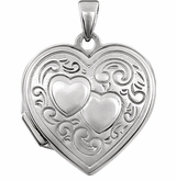 Oval Double Heart Sterling Silver Memorial Locket Jewelry Necklace